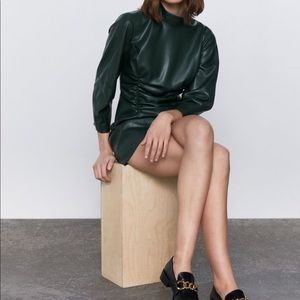 New Zara Faux Leather Ruched Dress
